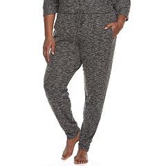 Plus Size Cuddl Duds Pajamas: Snow Days Ribbed Panel Jogger Pants