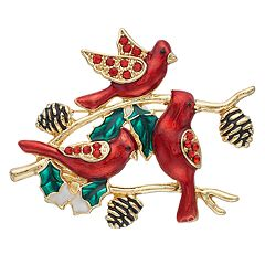 Gold Tone Holiday Cardinals Pin
