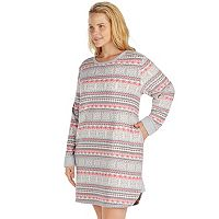 Plus Size Cuddl Duds Pajamas: Fleece Headband & Sleep Shirt PJ Set