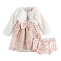 Baby Girls Nannette 3-pc. Faux-Fur Shrug & Lace Dress