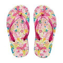 Girls 4-16 Tropical Flower Flip Flops