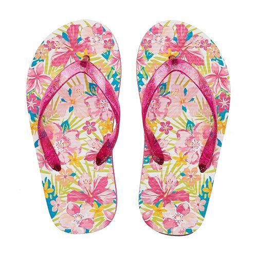 3f9ca10028da7 Girls 4-16 Tropical Flower Flip Flops