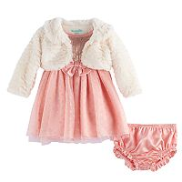 Baby Girl Nannette Faux Fur Shrug & Sequin Dress Set