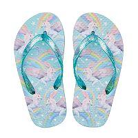 Girls 4-16 Unicorn Rainbow Glitter Flip Flops