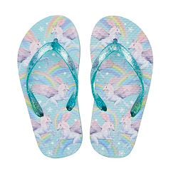Girls 4-16 Unicorn Rainbow Glitter Flip Flops