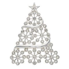Silver Tone Snowflake Christmas Tree Pin