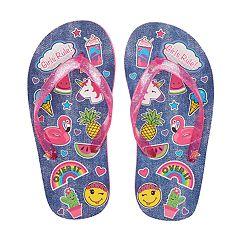 Girls 4-16 Summer Fun Icon Flip Flops