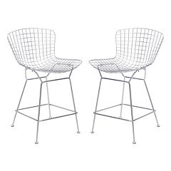 Zuo Modern Chrome Finish Wire Counter Stool 2-piece Set