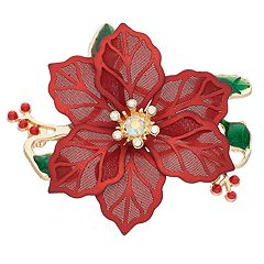Gold Tone Poinsettia Pin