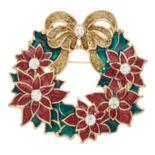 Gold Tone Poinsettia Wreath Pin