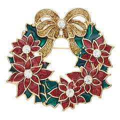 Gold Tone Poinsettia Wreath Pin