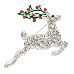 Silver Tone Holiday Reindeer Pin
