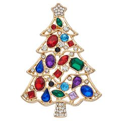 Gold Tone Colorful Christmas Tree Pin