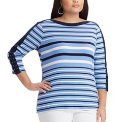 Plus Size Chaps Lace-Up Sleeve Boatneck Top