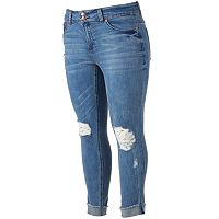 Juniors' Plus Size Almost Famous Cuffed Ankle Skinny Jeans