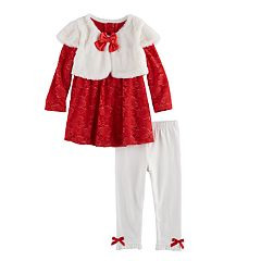 Baby Girl Nannette Faux Fur & Lace Top & Leggings Set