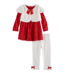 Baby Girl Nannette Faux Fur & Lace Top & Leggings Set