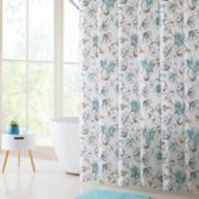 VCNY Delilah PEVA Shower Curtain, Bath Rug & Hook Set