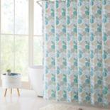 VCNY Coastal Seashells PEVA Shower Curtain, Bath Rug & Hook Set