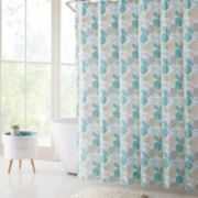 VCNY Coastal Seashells PEVA Shower Curtain, Bath Rug & Hook Set