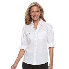 Petite Croft & Barrow® Knit-to-Fit Roll-Tab Shirt