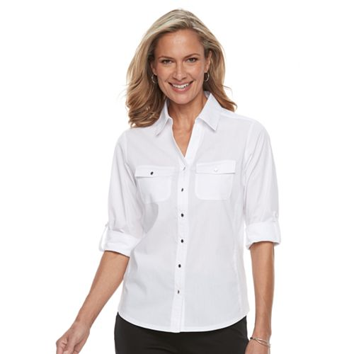 a51a0914 Petite Croft & Barrow® Knit-to-Fit Roll-Tab Shirt
