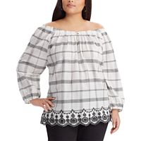Plus Size Chaps Plaid Off-the-Shoulder Top