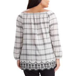 Plus Size Chaps Plaid Off-the-Shoulder Top