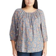 Plus Size Chaps Shirred Floral Top