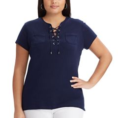 Plus Size Chaps Lace-Up Splitneck Tee