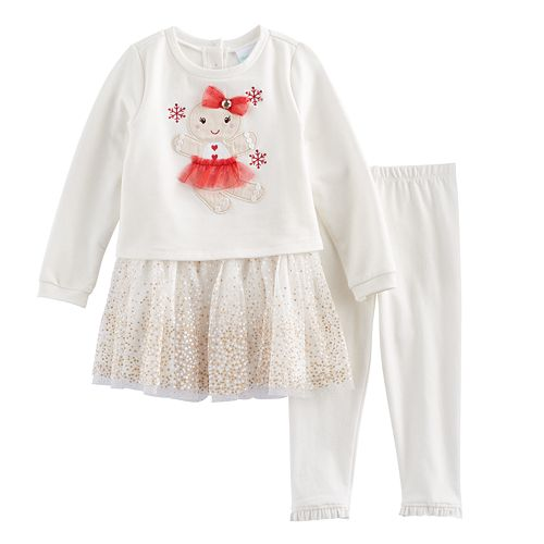 Baby Girl Nannette French Terry Glittery Gingerbread Dress & Leggings Set