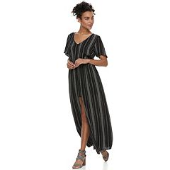 Juniors' Lily Rose Striped Walk-Through Maxi Dress