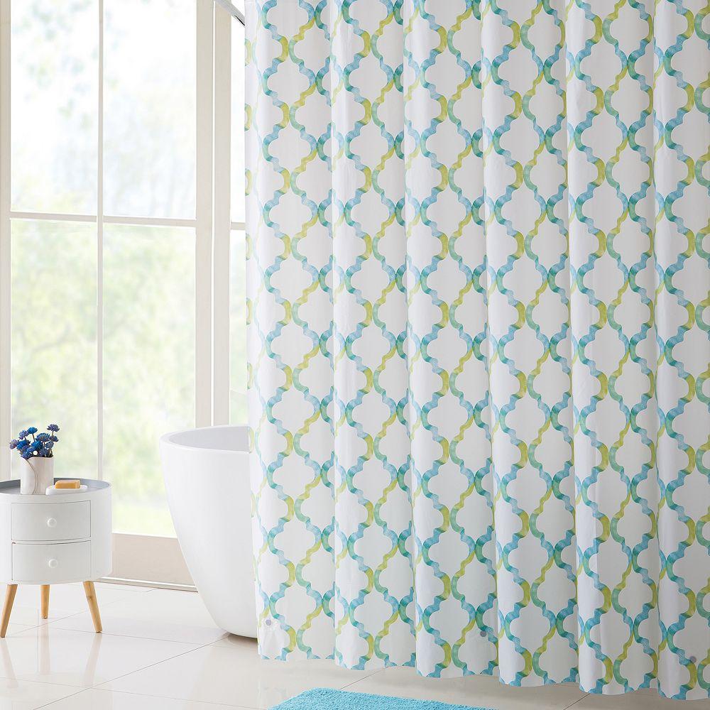 VCNY Oceana PEVA Shower Curtain, Bath Rug & Hook Set