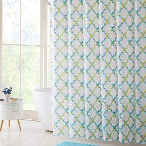 VCNY Oceana PEVA Shower Curtain Bath Rug Hook Set