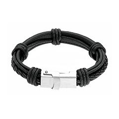 LYNX Men's Stainless Steel & Leather USB Charger Bracelet