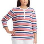 Plus Size Chaps Striped Henley Tee