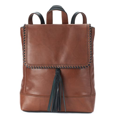 order select for latest 2019 hot sale ili Leather Whipstitch & Tassel Backpack