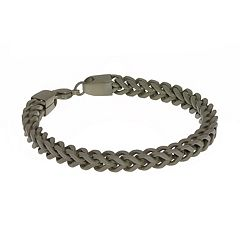 LYNX Men's Stainless Steel Foxtail Chain Bracelet