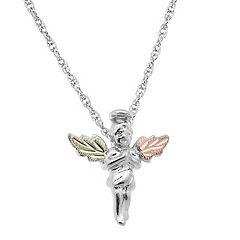 Black Hills Gold Tri Tone Leaf Angel Pendant in Sterling Silver