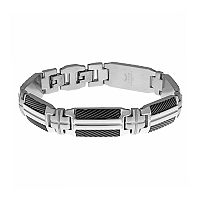 LYNX Men's Stainless Steel & Black Ion Plated Bracelet