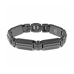 LYNX Men's Stainless Steel Textured Bracelet