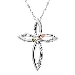 Black Hills Gold Tri Tone Leaf Cross Pendant in Sterling Silver