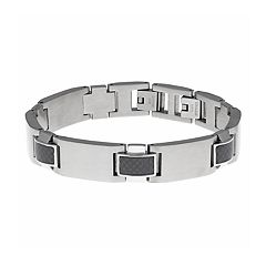 LYNX Men's Stainless Steel & Carbon Fiber Bracelet