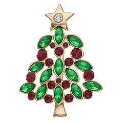 Gold Tone Red & Green Christmas Tree Pin