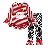 Toddler Girl Rare Too Santa Claus Striped Ruffle Top & Leggings Set