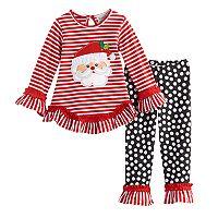 Toddler Girl Rare Too Santa Claus Striped Ruffle Top & Leggings Set