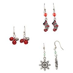 Christmas Stocking, Jingle Bells & Snowflake Nickel Free Drop Earring Set