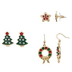 Christmas Tree, Wreath & Star Nickel Free Stud & Drop Earring Set
