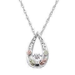Black Hills Gold Tri Tone 1/10 Carat T.W. Diamond Leaf Teardrop Pendant in Sterling Silver