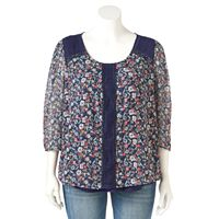 Plus Size LC Lauren Conrad Swiss Dot Pintuck Top